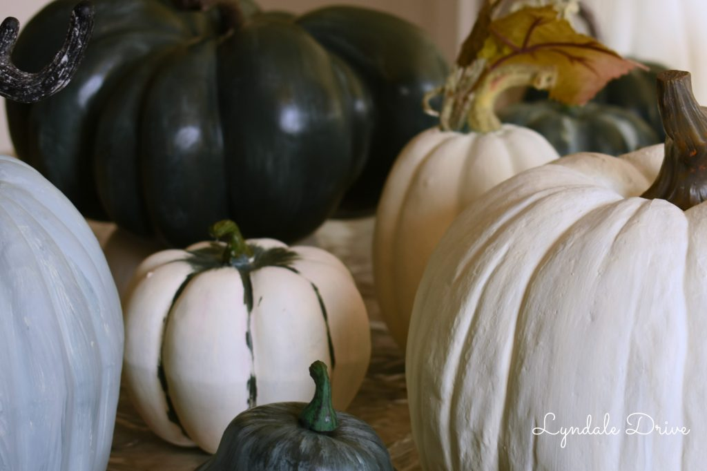 green-painted-pumpkins